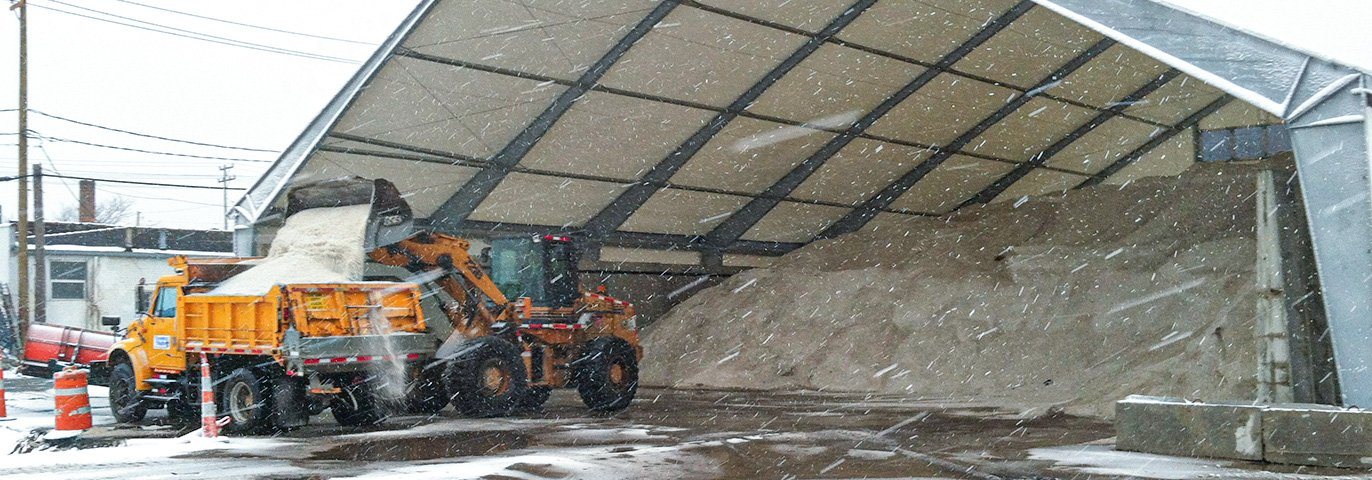 legacy building being used as a salt storage shed
